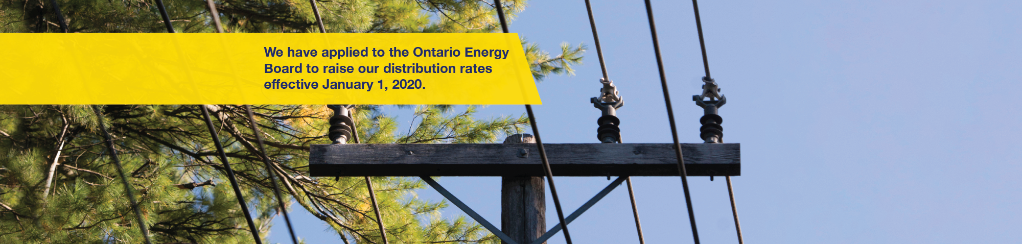 Banner image of a power pole and power lines. Text reads We have applied to the Ontario Energy Board to raise our distribution rates effective January 1, 2020.