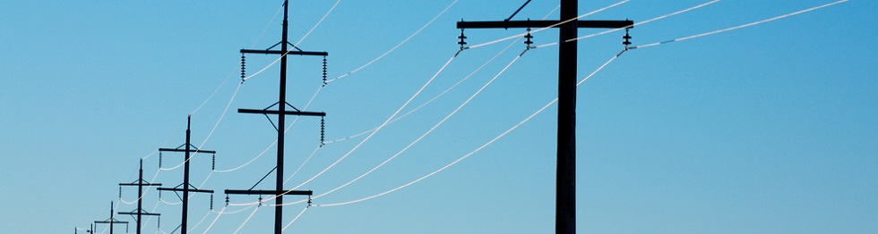 Image of a line of hydro poles and power lines against a blue sky.