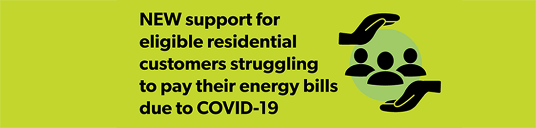 Banner announcing that support is available for customers affected by COVID-19