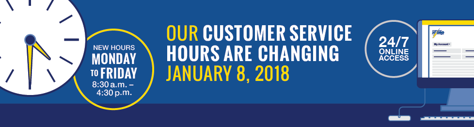 Banner image announcing our customer service hours are changing