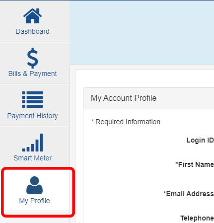 Capture of the buttons inside My Account, with the last menu button circled in red to call out where My Profile is.
