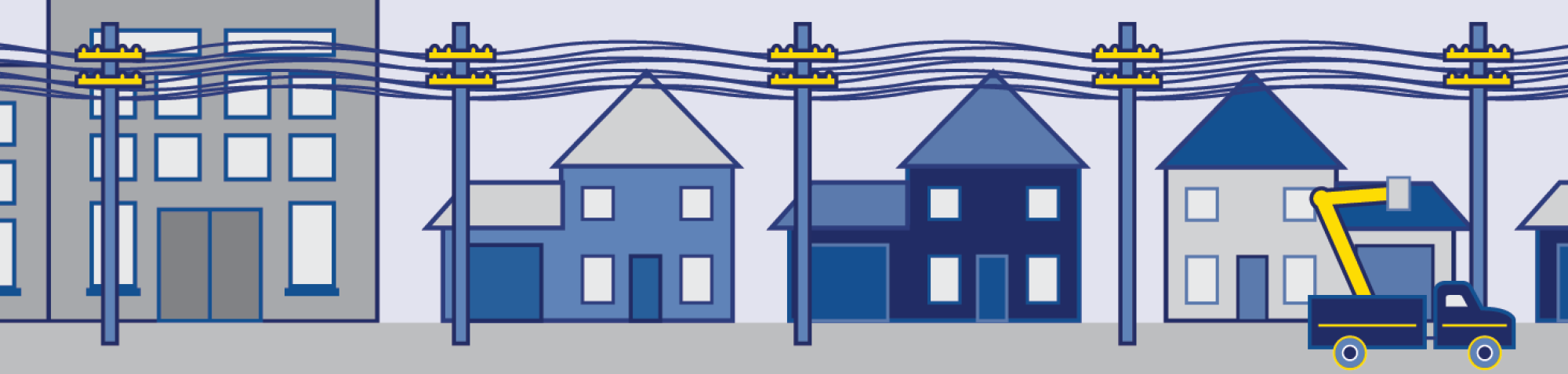 Illustration of homes and powerlines