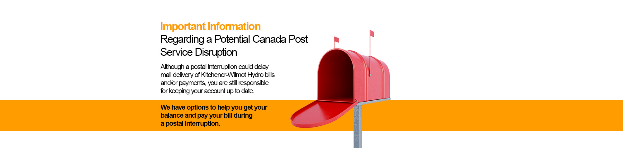 Canada Post Service Disruption Banner