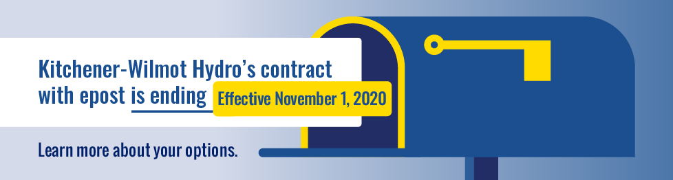 "Simple illustration of a mailbox with callouts that say ""Kitchener-Wilmot Hydro's contract with epost is ending November 1, 2020."